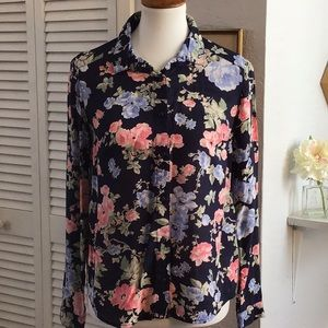 H&M Divided floral long sleeve blouse